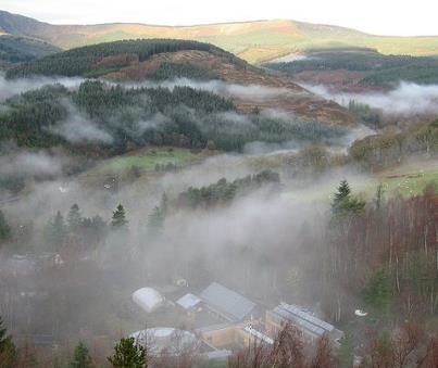 Aerial shot of CAT on a misty morning