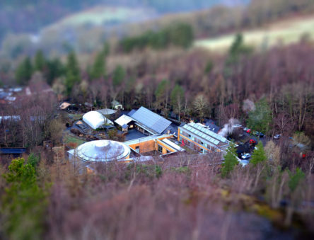 aerial view of the WISE building and visitors centre
